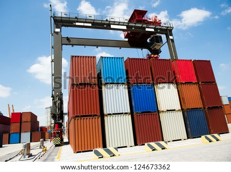 Lot's of cargo freight containers in the container terminal.