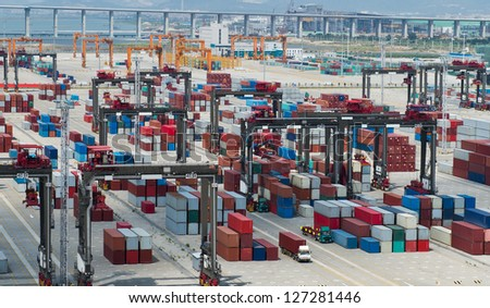 Lot's of cargo freight containers in the port.