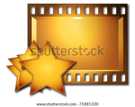 Lot stars and board with the film image on a white background