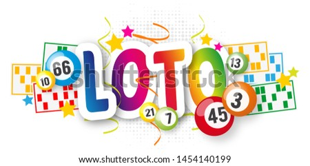Loto (Bingo in french language) with lottery balls and loto card Foto stock ©