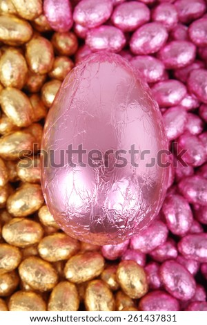 Lots and lots of pink and gold Easter eggs with Big Pink Easter Egg