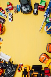 lots of baby car toys for developing games as a backdrop