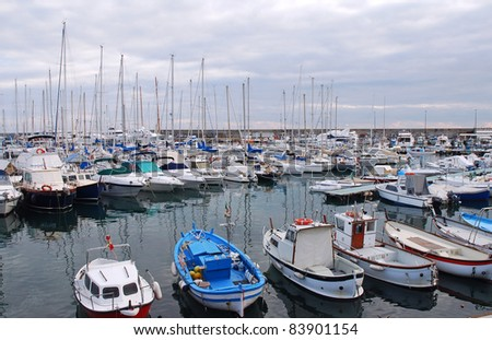 Lots of boats in Sanremo port, Italy