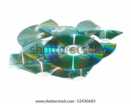 Lots of Broken CD. Isolated on white - stock photo