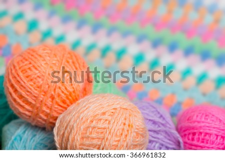 Lots of colorful balls of yarn #366961832