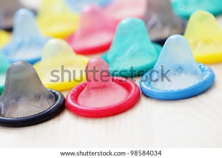 lots of colorful condoms - healthcare and medicine