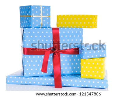 Lots of colorful wrapped presents for Birthday, Christmas or other celebration