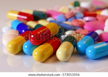 Lots of different medicine drugs, pills, tablets, capsules Photo stock ©