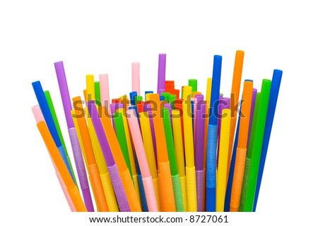 Lots of drinking straws isolated on white #8727061