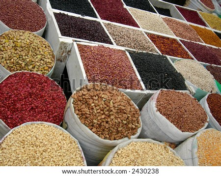 lots of dry food  at the market