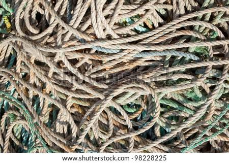 Lots of fishing ropes close up.