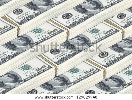 lots of hundred american dollar bills