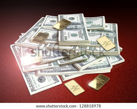 lots of hundred american dollar bills with gold bars