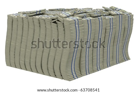 Lots of money. Huge pile of US dollars isolated - stock photo