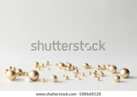 Lots of pearls in white background