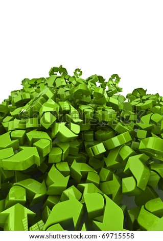 lots of recycle symbols - stock photo
