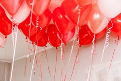Lots of red and white balloons with curly ribbons in white room for romantic and children's holidays with copy space background