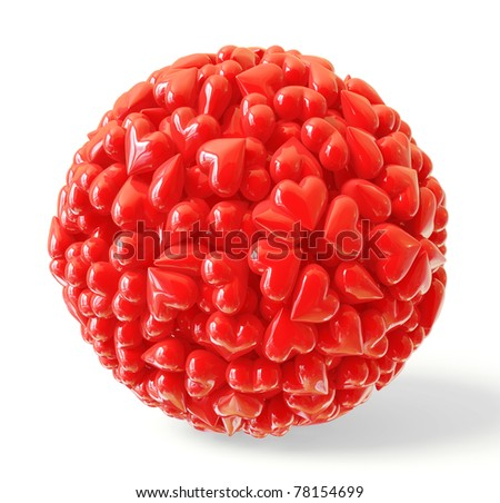 lots of red hearts in the form of a sphere