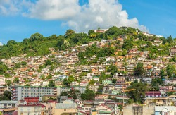 Lots of shantytown favelas on the hill, Fort De France, Martinique, French overseas department