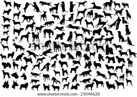 Lots of silhouettes of different breeds of dogs in action and static. See also vector format