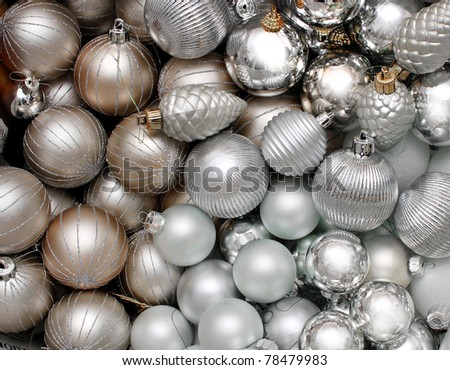 Lots of silver Christmas Decoration glass baubles background