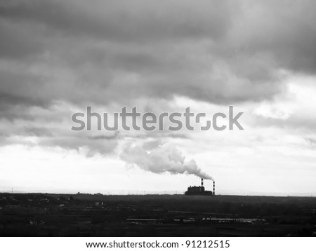 Lots of smoking chimneys / monochrome black and white