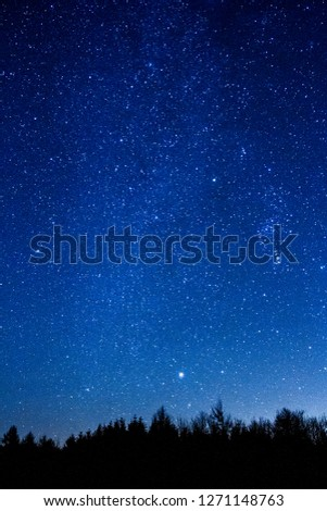 Lots of stars showing in the night sky over a forested area in the UK.
