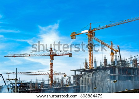 Lots of tower Construction site with cranes and building with blue sky background #608884475