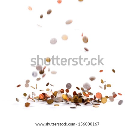 Lots of various coins falling over white background  #156000167