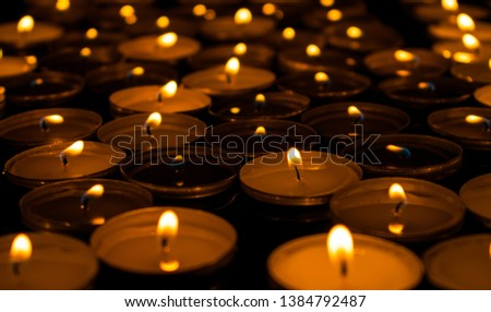 Lots of wax tea candles burning. Illustration of a romantic, gentle, seductive. erotic evening. Possibly even mystical.  #1384792487