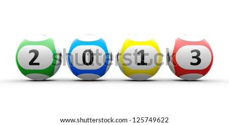 Lottery balls on a white table represents the new 2013