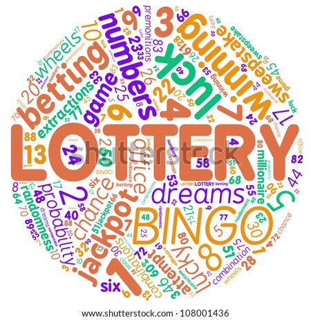 Lottery concept round tag cloud