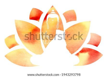 Lotus and Lord Buddha. Symbol of buddha. Vesak day greeting background with lotus flower. Yoga, spirituality. Watercolor Buddha silhouette