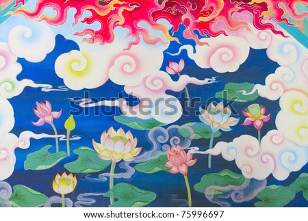 Lotus Chinese traditional painting style.