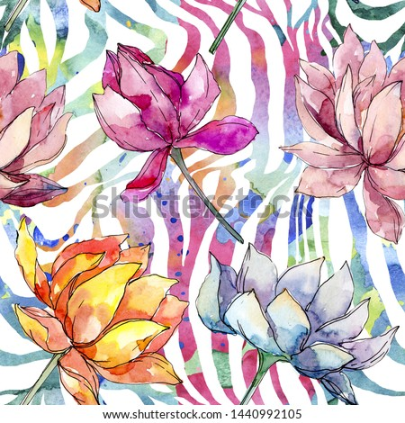 Lotus floral botanical flowers. Wild spring leaf wildflower isolated. Watercolor illustration set. Watercolour drawing fashion aquarelle. Seamless background pattern. Fabric wallpaper print texture.