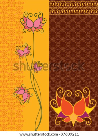 Lotus Flower Banner  - Inspired by Indian art henna - Detailed and easily editable