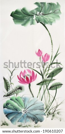 Lotus flower watercolor painting, vertical composition, asian style