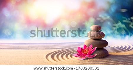 Lotus Flower With Spa Stones In Rock Garden  Stock fotó ©