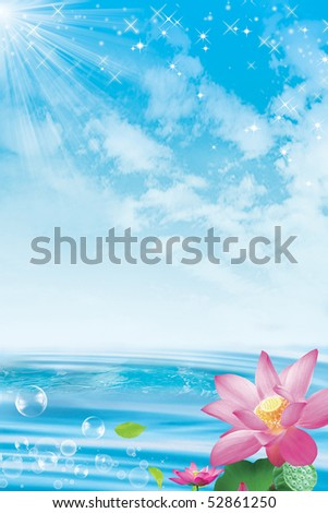 Lotus flowers against a sky and ocean background