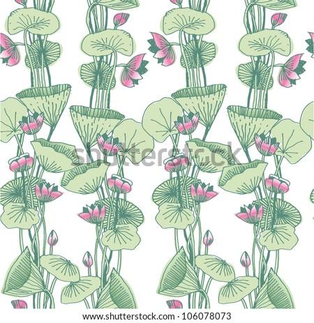 Art Nouveau Flower Patterns Lotus Flowers in Art Nouveau