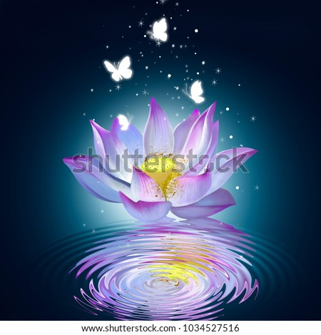 Stock Photo Lotus on the water creates ripples on the water, surrounded by butterflies and small bright stars