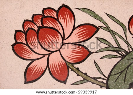 Lotus painting in traditional Thai style