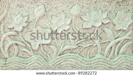 lotus relief on marble - stock photo