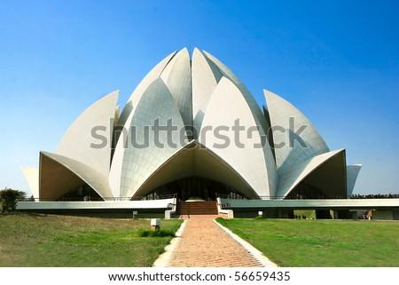 Lotus Temple against blue sky , New Delhi, India