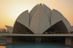 Lotus Temple at sunset, New Delhi, India