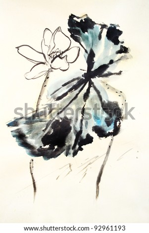 Lotus-Traditional Chinese Painting.