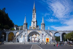 loudes famous french town cathedral of the madonna among the mountains of the pyrenees of France
