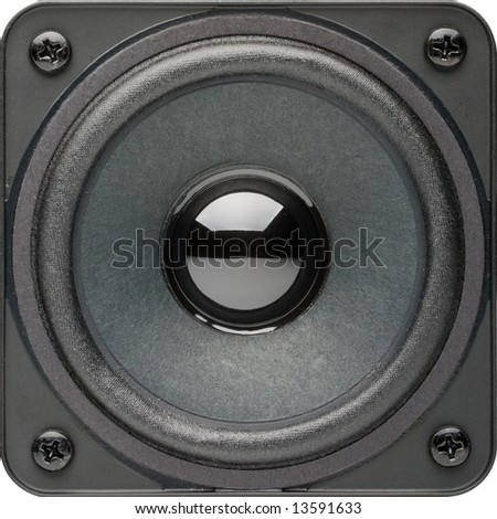 Loudspeaker isolated on a white background. Close up. Clipping path included.