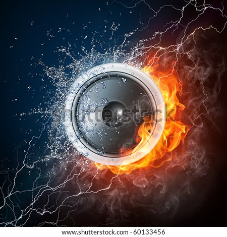 Loudspeaker on Fire and Water Isolated on Black Background. 2D graphics, computer designe