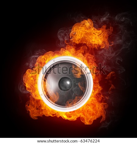 Loudspeaker on Fire Isolated on Black Background. 2D graphics, computer designe